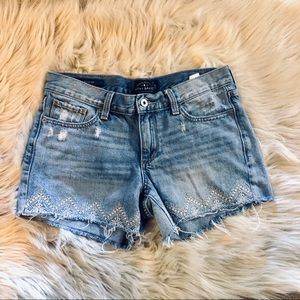 LUCKY BRAND EMBROIDERED DISTRESSED JEAN SHORTS